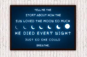 Moon // Geometric Romantic Typographic Quote // Waxing & Waning Moon ...