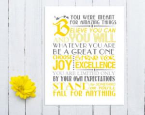 ... , Inspirational Quotes, Typography, 8x10 Printable, School Spirit
