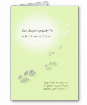 pet sympathy card for dog or cat with pawprints on green background