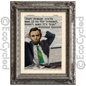 Abraham Lincoln Quote on Vintage Upcycled Dictionary Art Print Book ...
