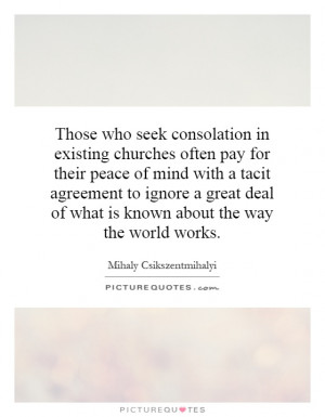 in existing churches often pay for their peace of mind with a tacit ...