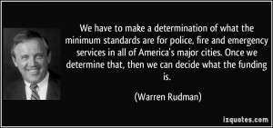 what the minimum standards are for police, fire and emergency services ...
