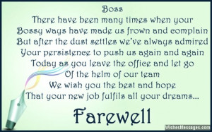 Touching farewell card quote to boss from colleagues