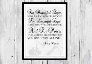 Audrey Hepburn quote: For beautiful eyes... Dorm Decor -