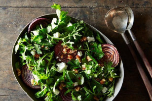 Yotam Ottolenghi's Red Onion Salad with Arugula and Walnut Salsa on ...