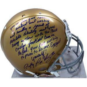 ... Signed Authentic Notre Dame Full Size Helmet Full Movie Speach