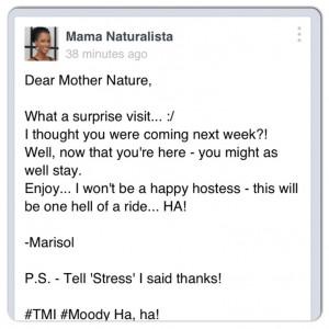 Dear Mother Nature...