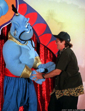 Robin Williams with the Disney character 'Genie'