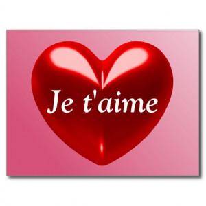 JE T'AIME - I LOVE YOU (French) Postcard