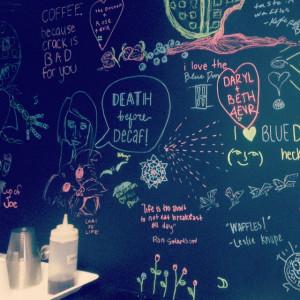 Parks & Recreation breakfast quotes at The Blue Door in Savannah, GA.