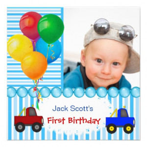 Baby Boy First Birthday 1st Colorful Personalized Invitations