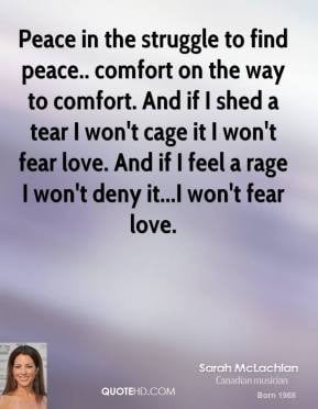 sarah-mclachlan-quote-peace-in-the-struggle-to-find-peace-comfort-on-t ...