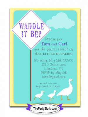 Printable Gender Reveal Baby Shower Invitation: Waddle it Be