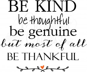 Be Kind Be Thankful Christian Wall Decals