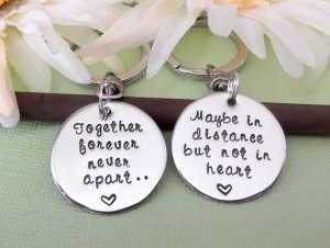 Long Distance Relationship Keychain Set- Together Forever, Never Apart ...