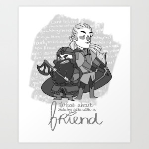24 promote art print legolas and gimli quote by little people size ...