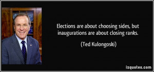 Elections are about choosing sides, but inaugurations are about ...