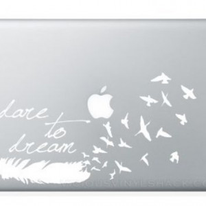 WHITE Dare to Dream Feather Turning into a Flock of Birds Quote Vinyl ...