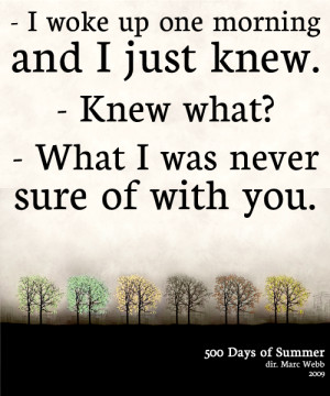 Summer: I woke up one morning and I just knew.Tom: Knew what?Summer ...