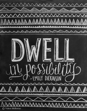 Inspirational Print - Emily Dickinson Quote - Chalkboard Art - Chalk ...