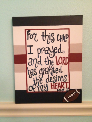 Sports Baby Boy Nursery Christian Bible Verse Wall Hanging 1 sam: 27