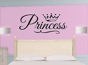 PRINCESS-Crown-Girl-WALL-DECAL-Quote-Vinyl-Lettering-STICKER-ANY-COLOR