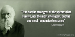 Charles Darwin Quote - It is not the strongest of the species that ...