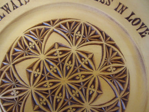 Chip carved plate - F.Nietzsche quote