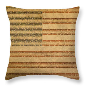Flag Mixed Media Throw Pillows - Famous Patriotic Quotes American Flag ...