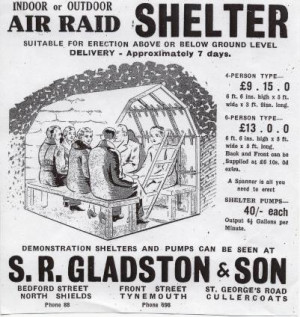 vintage air raid shelter poster