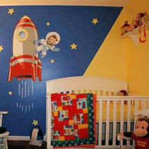 Curious George Outer Space Rocket Ships Moon and Stars Baby Boy ...