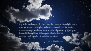 light shines down on all of us from the the heavens stars light