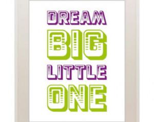 Dream big little one, baby girl, inspirational nursery art, home decor ...
