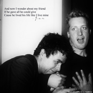 ... dirnt, friends, funny, green day, hug, mike, mike dirnt, smile, tre
