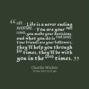 Quotes Picture: life life is a never ending aventure you are your own ...