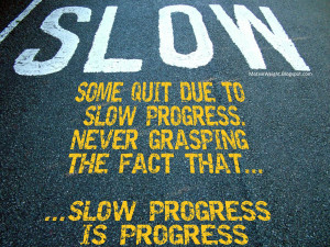 ... progress. Never grasping the fact that... slow progress is progress
