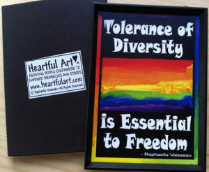TOLERANCE of DIVERSITY MAGNET Motivational Words Rainbow Sayings ...