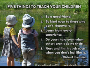 Post image for WORTH SEEING: Poster – FIVE THINGS TO TEACH CHILDREN