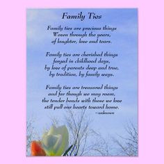 Family Ties Poster A poem about how precious our family ties are to ...