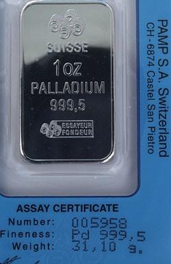 Stock Photo of ounce bar pure palladium metal bullion ingot precious