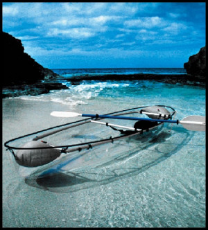 this canoe kayak hybrid has a transparent polymer hull that offers ...