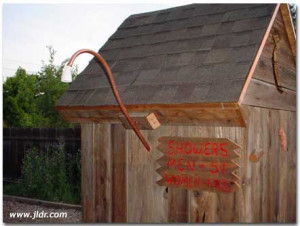 Madera, California Outhouse with Outdoor Plumbing