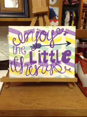Cute Canvas painting quotes DIY || enjoy the little things