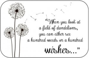 Quotes About Wishes And Dandelions I just love the quote,