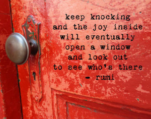 SALE Red Door with Rumi Quote by fiercegreen on Etsy