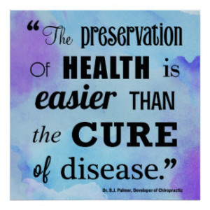 Preservation of Health Chiropractic Quote Poster