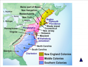13 colonies map with mountains