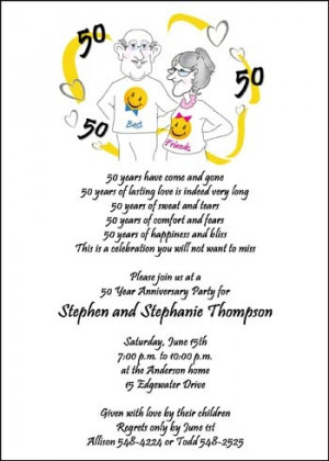 Amazing Samples of 50th Golden Wedding Anniversary Party Invites