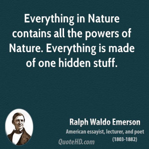 Everything in Nature contains all the powers of Nature. Everything is ...