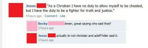 Hitler quote, Christian pwned!
